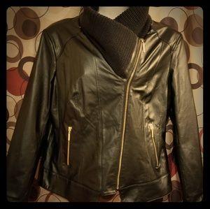 Iman Leather cowl neck Jacket XL (black)